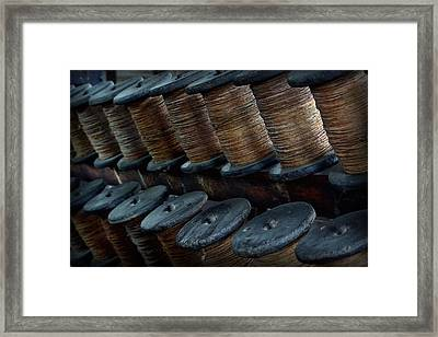 Framed Print featuring the photograph Spools In A Row by Nadalyn Larsen