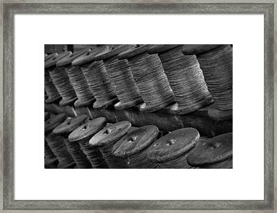 Spools In The Rope House Framed Print by Nadalyn Larsen