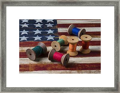 Spools Of Thread On Folk Art Flag Framed Print by Garry Gay
