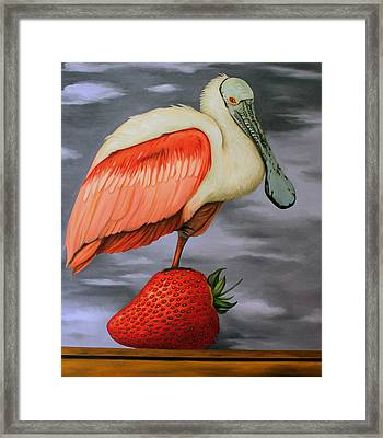 Spoonbill On A Strawberry Framed Print by Leah Saulnier The Painting Maniac