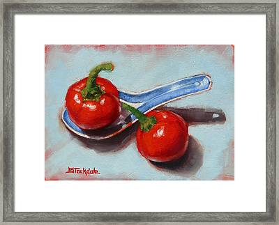 Framed Print featuring the painting Spoonful Of Chilli by Margaret Stockdale