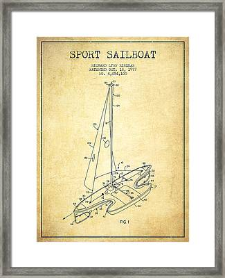 Sport Sailboat Patent From 1977 - Vintage Framed Print by Aged Pixel