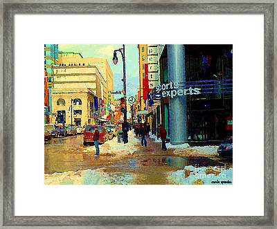 Sports Experts Clothing Footwear St Catherine Mansfield Downtown Montreal City Scene C Spandau Framed Print by Carole Spandau
