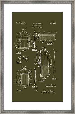 Sportsman's Coat Patent 1945 Framed Print by Mountain Dreams
