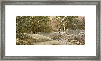 Sportsmen In A Winter Forest Framed Print