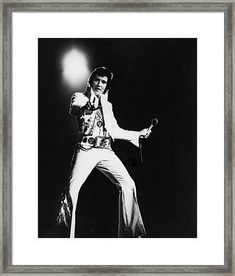 Spotlight Behind Elvis Presley Framed Print by Retro Images Archive