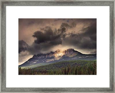Spotlight On Castle Mountain Framed Print