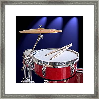 Spotlight On Drums Framed Print by Gill Billington