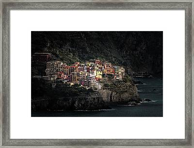 Spotlighted Manarola Framed Print