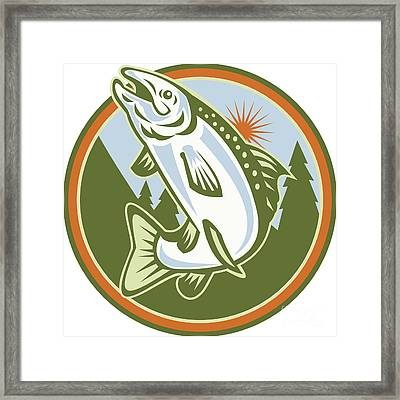 Spotted Speckled Trout Fish Jumping Framed Print