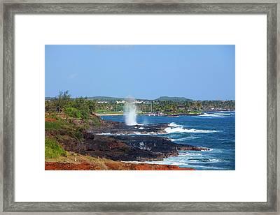 Spouting Horn, Poipu, Kauai, Hawaii Framed Print by Douglas Peebles