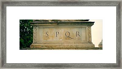 Spqr Text Carved On The Stone, Piazza Framed Print by Panoramic Images
