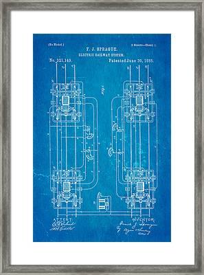 Sprague Electric Railway Patent Art 1885 Blueprint Framed Print by Ian Monk
