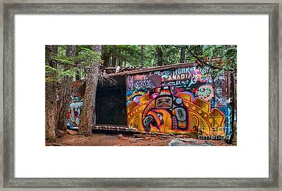 Spray Painted Box Car Train Wreck Framed Print by Adam Jewell