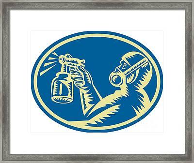 Spray Painter Spraying Gun Retro Framed Print by Aloysius Patrimonio