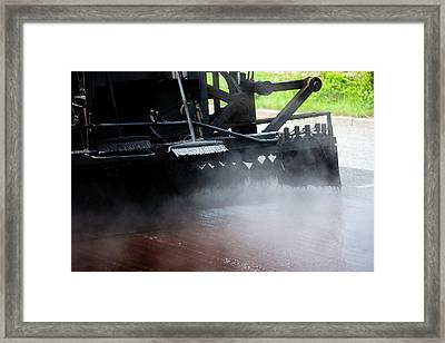 Spraying Bitumen During Road Resurfacing Framed Print by Ian Gowland/science Photo Library
