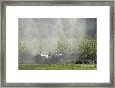 Spraying The Orchard Framed Print by Mike  Dawson