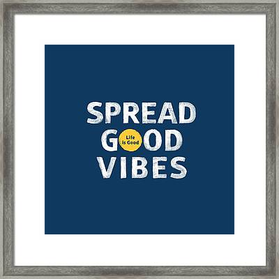 Spread Good Vibes Dot Framed Print by Life is Good