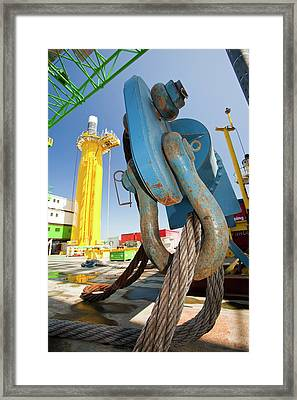 Spreader Used To Lift Transition Pieces Framed Print by Ashley Cooper