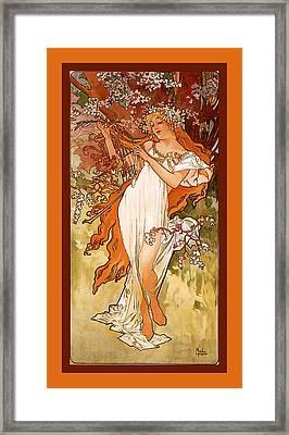 Spring Framed Print by Alphonse Maria Mucha