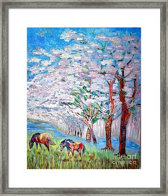 Spring And Horses 2 Framed Print