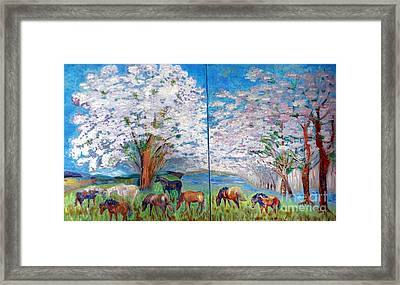 Spring And Horses Framed Print