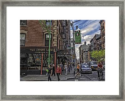 Spring And Mulberry - Street Scene - Nyc Framed Print