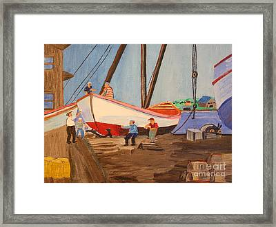 Spring At The Harbor - Tysver's Wharf 1935 Framed Print