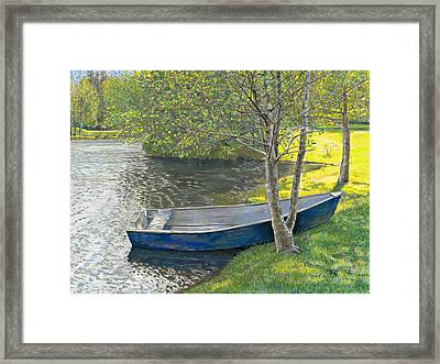 The Blue Rowboat Framed Print