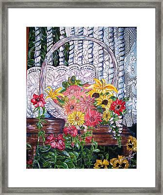 Spring Basket Framed Print by Linda Vaughon