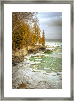 Framed Print featuring the photograph Spring Breaking Through At Cave Point by Mark David Zahn Photography