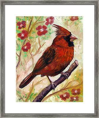Spring Cardinal Framed Print by Eve  Wheeler