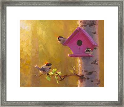 Spring Chickadees 1 - Birdhouse And Birch Forest Framed Print