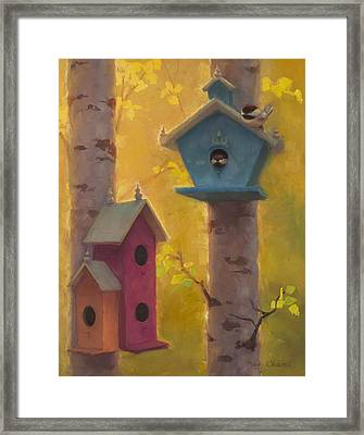 Spring Chickadees 2 - Birdhouse And Birch Forest Framed Print by Karen Whitworth
