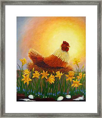 Framed Print featuring the painting Spring Chicken by Karen Mattson