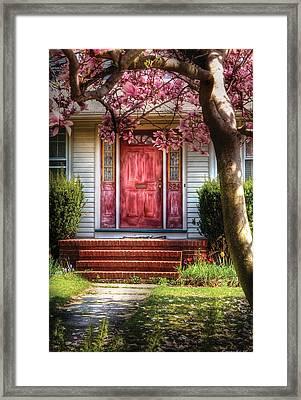 Spring - Door - Westfield Nj - Pink Framed Print by Mike Savad