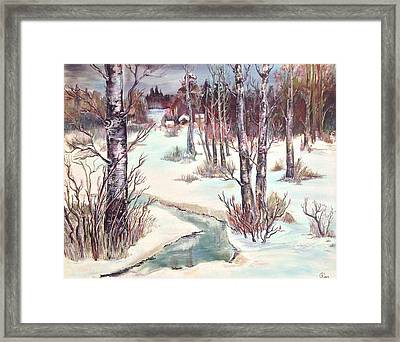 Framed Print featuring the painting Spring Dusk by Iya Carson