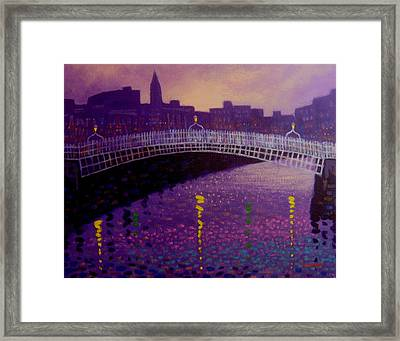 Spring Evening Ha Penny Bridge Dublin Framed Print by John  Nolan