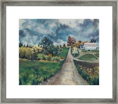 Framed Print featuring the painting Spring Farm by Joy Nichols