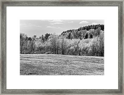 Spring Farm Landscape With Dandelions In Maine Framed Print