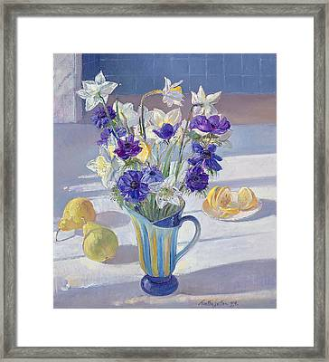 Spring Flowers And Lemons Framed Print by Timothy  Easton
