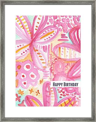 Spring Flowers Birthday Card Framed Print by Linda Woods