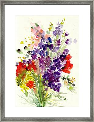 Spring Flowers Bouquet - Floral Watercolor Framed Print by Tiberiu Soos