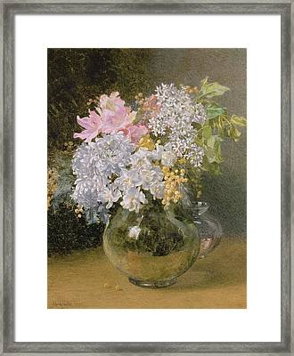 Spring Flowers In A Vase Framed Print by Maud Naftel