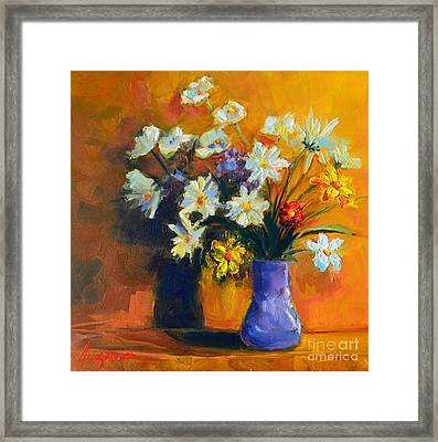 Spring Flowers In A Vase Framed Print by Patricia Awapara