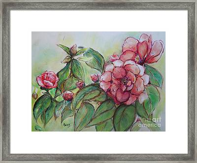 Spring Flowers Wet With Dew Drops Original Canadian Pastel Pencil Framed Print by Aeris Osborne