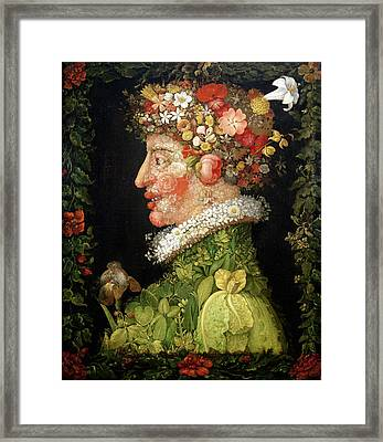 Spring, From A Series Depicting The Four Seasons Framed Print by Giuseppe Arcimboldo