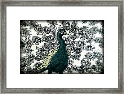 Spring Green Peacock Framed Print