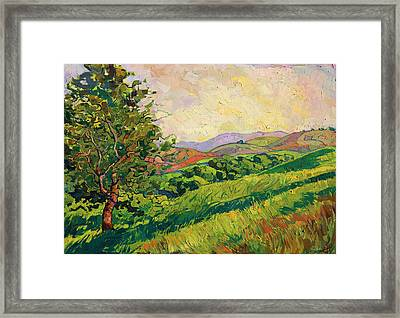 Framed Print featuring the painting Spring Greens by Erin Hanson