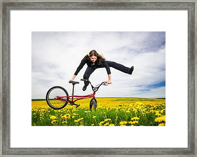 Spring Has Sprung - Bmx Flatland Artist Monika Hinz Jumping In Yellow Flower Meadow Framed Print by Matthias Hauser